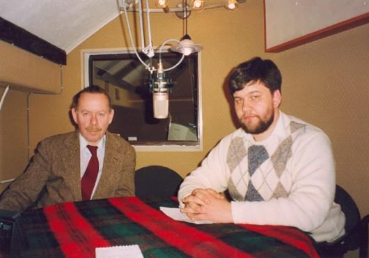 """Я.А. Гордин и К.М. Александров в студии радио """"Град Петров"""""""