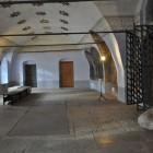 Притвор собора с символическим камнем, на котором прп Антоний Римлянин приплыл в Новгород