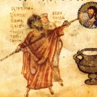21 Хлудовская псалтирь Антоний Силейский замазывает известью икону Христа