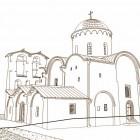 51 Собор Спасо-Мирожского монастыря Псков XII в реконструкция