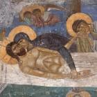 55 Положение во гроб, фреска Мирожского монастыря, фрагмент