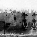 Повреждения носовой части крейсера в Цусимском бою