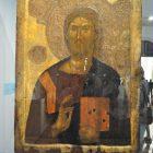 Двусторонняя выносная икона «Христос Пантократор / Процветший Крест». Византия, Фессалоники. Вторая половина XIV в.  Византийский и Христианский музей, Афины