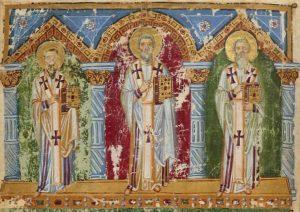 Деталь миниатюры Григорий Нисский, Василий Великий, Григорий Богослов. Иов с женой и друзьями