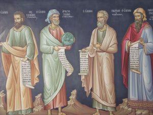 Греческие философы. Фрагмент: Аристотель и Платон. Фреска монастыря Мегало Метеоры (Большие Метеоры), Греция