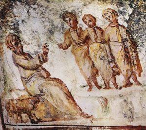 """""""Явление трех Ангелов Аврааму"""", катакомбы на Виа Латина в Риме, сер. IV в."""
