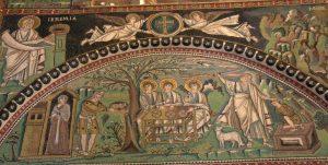 Троица - явление трех ангелов Аврааму, мозаика, базилика Сан Витале, Равенна, VI в.
