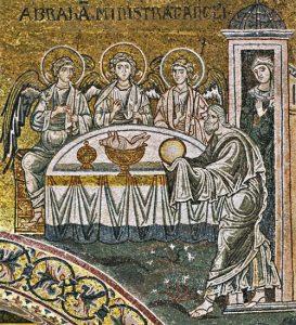 Троица - явление Аврааму мозаика Сицилия