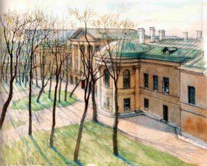 Вид из окна столовой А. Н. Бенуа на особняк Бобринских СПб 1908 - рис А Бенуа