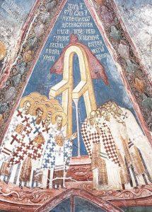 Отцы православной Церкви и еретики. Фреска, 14 век