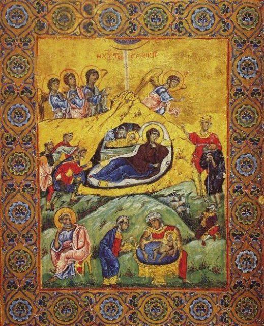 rozhdestvo-hristovo-vizantijskaya-miniatyura-xi-v-afon-gretsiya