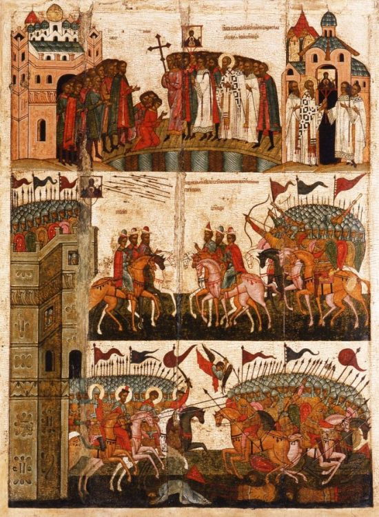 «Чудо от иконы Знамение (Битва новгородцев с суздальцами)». Середина XV века. НГОМЗ