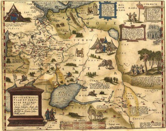 Карта Руссии, Московии и Тартарии англичанина Дженкинсона 1562
