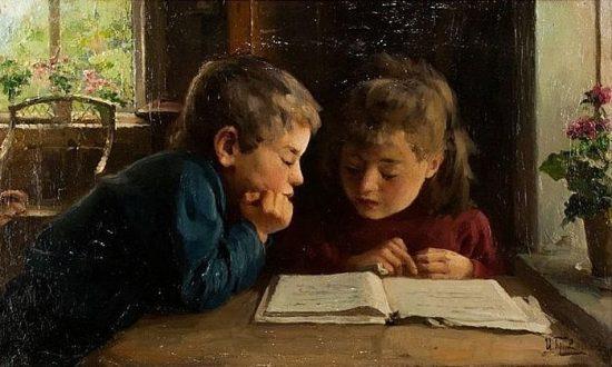 Горохов Иван Лаврентьевич «Дети за чтением книги», 1924 год