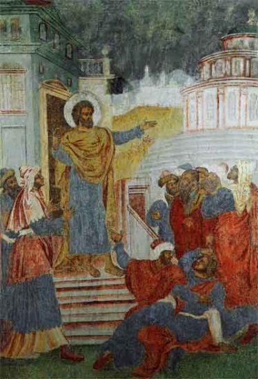 Апостол Петр проповедует в Риме. Северный столб. Восточная сторона. Нерехта, Никольская церковь, начало 1720-х годов