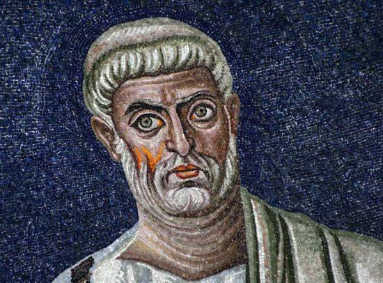 Апостол Петр. Мозаика апсиды базилики св. Космы и Дамиана. Первая треть VI в. Рим