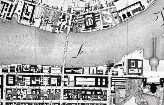 Воскресенский мост на карте 1828 года