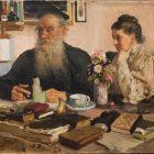 09 И.Репин. Л.Н.Толстой с женой С.А. Толстой, 1907-1911