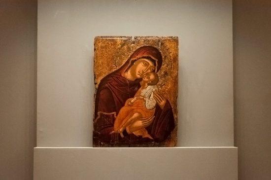 греческая икона 15 в. «Богоматерь с Младенцем Элеуса (Умиление)», Государственный Эрмитаж